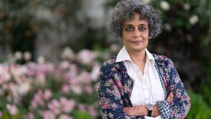 Arundhati Roy no Hay Festival, no País de Gales, em junho de 2019.