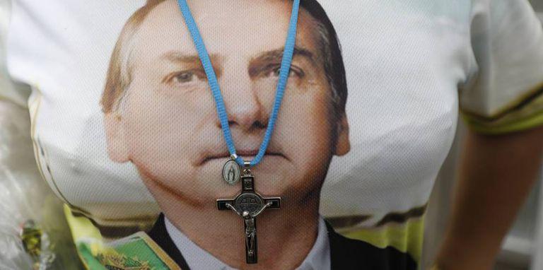 Apoiadora de Bolsonaro durante a posse, em 1 de janeiro.