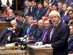Boris Johnson, durante el debate parlamentario sobre el acuerdo del Brexit.