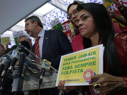Moema Gramacho protesta contra Michel Temer, em Brasília, em maio de 2016.