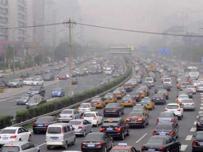 Um engarrafamento em Pequim.