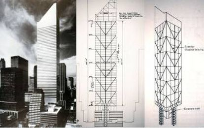Esboço da estrutura desenhada pelo engenheiro William LeMessurier. As nervuras diagonais das fachadas direcionam a carga sobre os quatro pilares situados no centro das faces do edifício, e não nos cantos