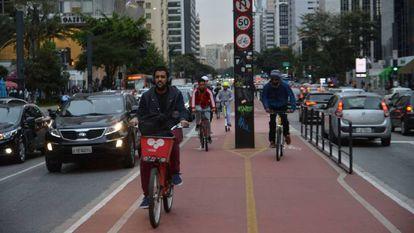 A ciclovia da avenida Paulista, em São Paulo.