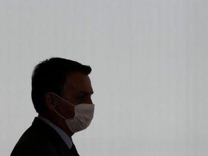 O presidente Jair Bolsonaro, durante cerimônia no Palácio do Planalto, nesta terça, 27.