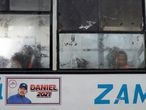 A sticker promoting the candidacy of Nicaragua's President Daniel Ortega in the 2021 election is pictured on the side of a bus in Managua, Nicaragua June 21, 2021. Picture taken June 21, 2021. REUTERS/Stringer NO RESALES. NO ARCHIVES