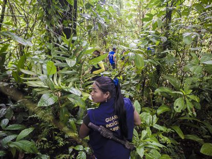 Membros da guarda indígena apontam o local exato onde o Exército detonou de forma controlada um explosivo que sobrou de um combate entre grupos armados.