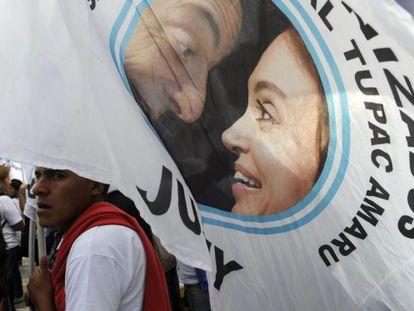 Um simpatizante de Cristina Fernández de Kirchner.