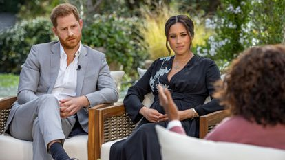 Harry e Meghan, duques de Sussex, em sua entrevista a Oprah Winfrey.
