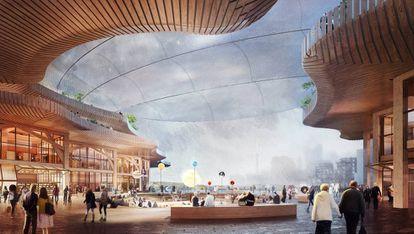 As propostas do escritório de arquitetura de Thomas Heatherwick incluem um projeto para a sede do Google no Canadá, no bairro de Villiers West, dentro do distrito IDEA. |