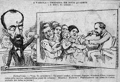 Charge mostra deputado Barbosa Lima, contrário à vacinação obrigatória.
