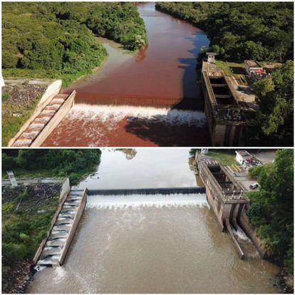 Imagem do Paraopeba, antes e depois da lama, em Juatuba.