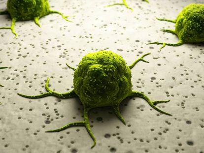 Ilustração computadorizada de células cancerígenas.