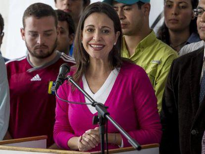 María Corina Machado, em entrevista coletiva em dezembro.