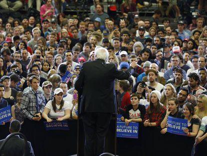 Bernie Sanders, em um comício em Salt Lake City (Utah) como pré-candidato democrata nas eleições de 2016.
