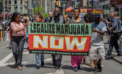 Manifestação a favor da legalização da maconha, em maio.