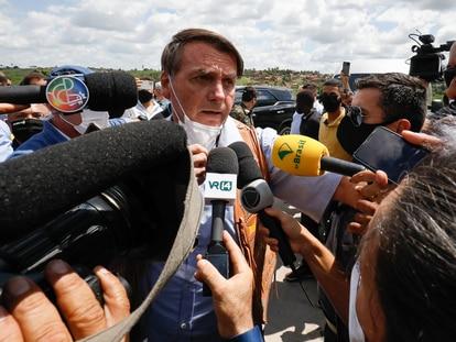 O presidente Jair Bolsonaro durante evento em Feira de Santana (BA), pouco antes de xingar uma repórter.