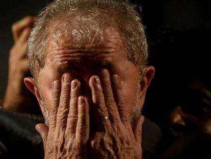 Lula durante evento após seu depoimento.