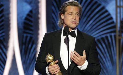 Brad Pitt, ganhador do Globo de Ouro de melhor ator coadjuvante, neste domingo em Los Angeles.