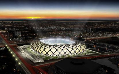 Croqui da Arena Amazônia, que está sendo construída em Manaus.