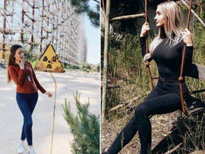 Duas das imagens que podem ser encontradas buscando pela localização 'Chernobyl' no Instagram.