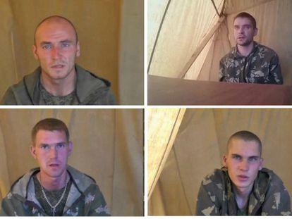 Quatro dos soldados russos detidos na Ucrânia.