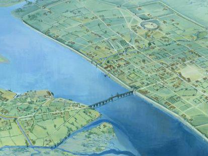 Um mapa da Londres romana; o cemitério foi encontrado ao sul.