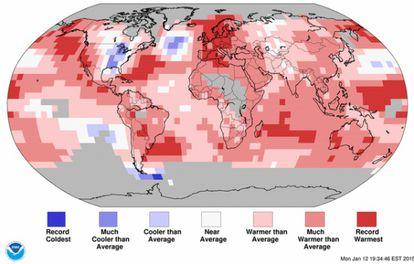 Recordes de calor (vermelho) e de frio (azul) em 2014.