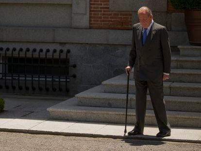 Juan Carlos I, no Palácio de la Zarzuela em 9 de junho de 2014, durante seus últimos dias como monarca.