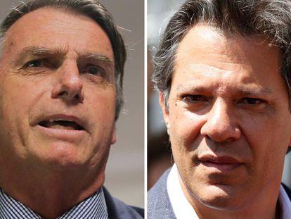 Fotografias de arquivo de Jair Bolsonaro (PSL) e Fernando Haddad (PT)