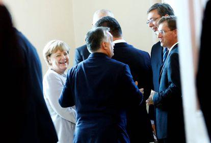 A chanceler Angela Merkel, no sábado durante uma reunião sobre os refugiados realizada em Viena