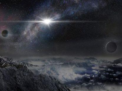 Reconstrução da supernova ASASSN15lh, vista de um exoplaneta a 10.000 anos-luz da estrela.