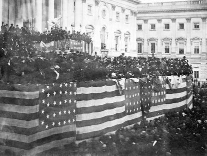 Ato de posse da presidência de Rutherford B. Hayes, em Washington em 1877.
