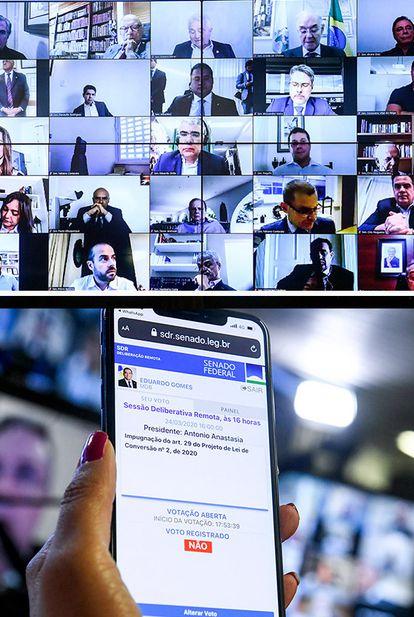 Soluções do Senado na época da pandemia: videoconferência para debates e aplicativo para votações. Marcos Oliveira/Agência Senado