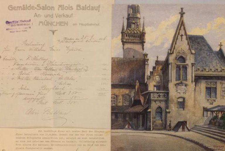 Aquarela leiloada com a nota fiscal original de venda de 1916.
