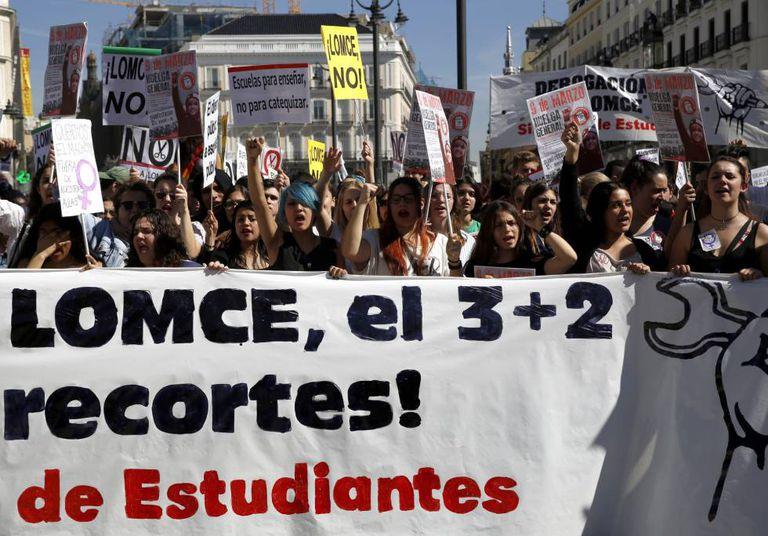 Manifestação em Madri convocada pelo Sindicato dos Estudantes.