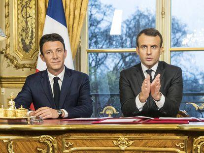Griveaux e Macron, no Eliseu, em 2017.