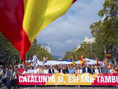 Manifestação em Barcelona convocada por entidades contrárias à separação da Catalunha, no dia 29 de julho