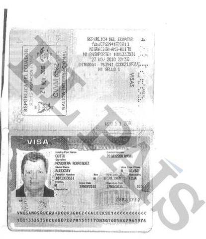 Passaporte entregue à Banca Privada d´Andorra (BPA) pelo ex-ministro do Equador Alecksey Mosquera para abrir sua conta.
