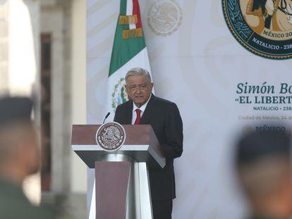 O presidente do México, Andrés Manuel López Obrador, na comemoração do aniversário de Simón Bolívar na Cidade do México.