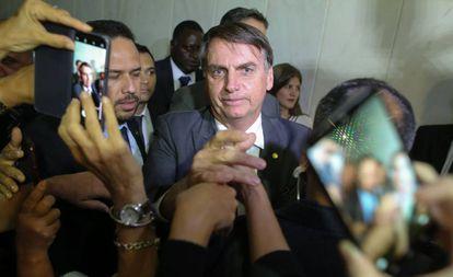 Jair Bolsonaro durante visita ao Tribunal Superior do Trabalho.