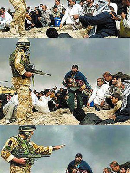 Montagem realizada pelo fotógrafo Brian Walski, dos 'Los Angeles Times'. Combinou com Photoshop as duas primeiras imagens, originais, nas quais um soltado britânico fala com civis durante a guerra do Iraque, para criar a terceira. Foi demitido.