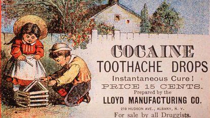 Cocaína, remédio para a dor de dente, num anúncio dos EUA de 1890.