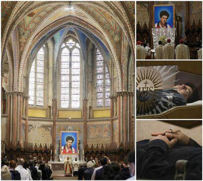À esquerda, cerimônia de beatificação de Carlo Acutis em Assis. À direita, uma imagem do jovem e detalhes de seu corpo. O rosto foi reconstruído com uma máscara de silicone.