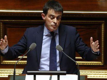 O primeiro-ministro francês, Manuel Valls, nesta terça-feira diante da Assembleia Nacional.