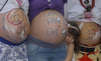 Protesto pelo parto humanizado no Rio de Janeiro.