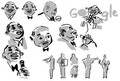 Os esboços do doodle que homenageou Lupicínio Rodrigues.
