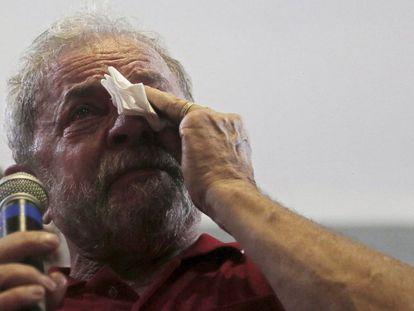 O ex-presidente Lula, no último dia 4 de março, após ser levado para depor na PF.