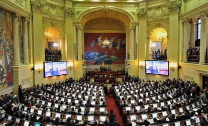 Primera sessão do novo Congreso colombiano.