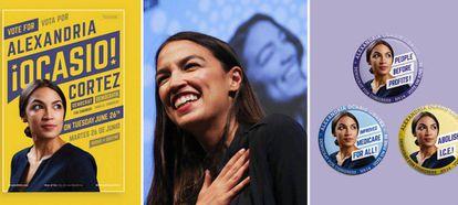 À esquerda e à direita, o desenho gráfico que mudou as regras do marketing político, por obra da María Arenas e da equipe da Tandem NYC