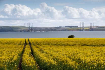 Plataformas petrolíferas em desuso em Cromarty Firth (Escócia), nesta terça-feira.